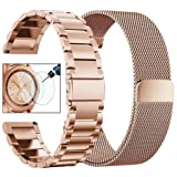 CAGOS Compatible Galaxy Watch 42mm/Ticwatch E Bands Sets, 20mm 2 Pack Stainless Steel Band+Milanese Loop Mesh Bracelet for Samsung Galaxy Watch 42mm/ Gear Sport Smartwatch - Rose Gold (Color: 1Rose Gold, Tamaño: Small)