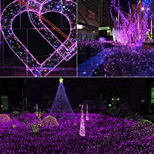 Lyhope 12ft x 5ft 360 LED Decorative Net Lights, 8 Modes Low Voltage Mesh Christmas Lights for Xmas Trees, Bushes, Wedding, Garden, Outdoor, Indoor Decor (Purple) (Color: 360led-Purple, Tamaño: 360led)
