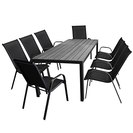 9tlg. Gartenmöbel-Set Aluminium Gartentisch, Tischplatte Polywood in Grau, 205x90cm + 8x Stapelstuhl, Textilenbespannung in Schwarz - Gartenmöbel Set Sitzgarnitur Sitzgruppe