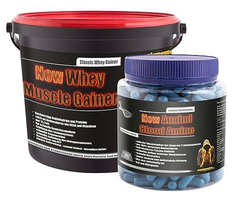 New Anabol Blood Amino 350 Kaps.!+New Whey Muscle Gainer 3kg Toffee! Muskelaufbau Aminosäuren Wheygainer Anabol Eiweiß Masseaufbau