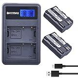 Batmax 2Packs High Capacity BP-511A BP-511 BP 511 511A Battery + LCD Dual USB Charger for Canon EOS 5D, 10D, 20D, 30D, 40D, 50D, Digital Rebel 1D, D60, 300D, D30, Kiss Powershot G5, Pro