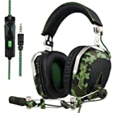 Xbox one PS4 PC Gaming Headsets, SADES SA926T Gaming Headphone 3.5mm Over-Ear Headphones with Microphone in-line Volume Control (Color: SA926T GREEN)