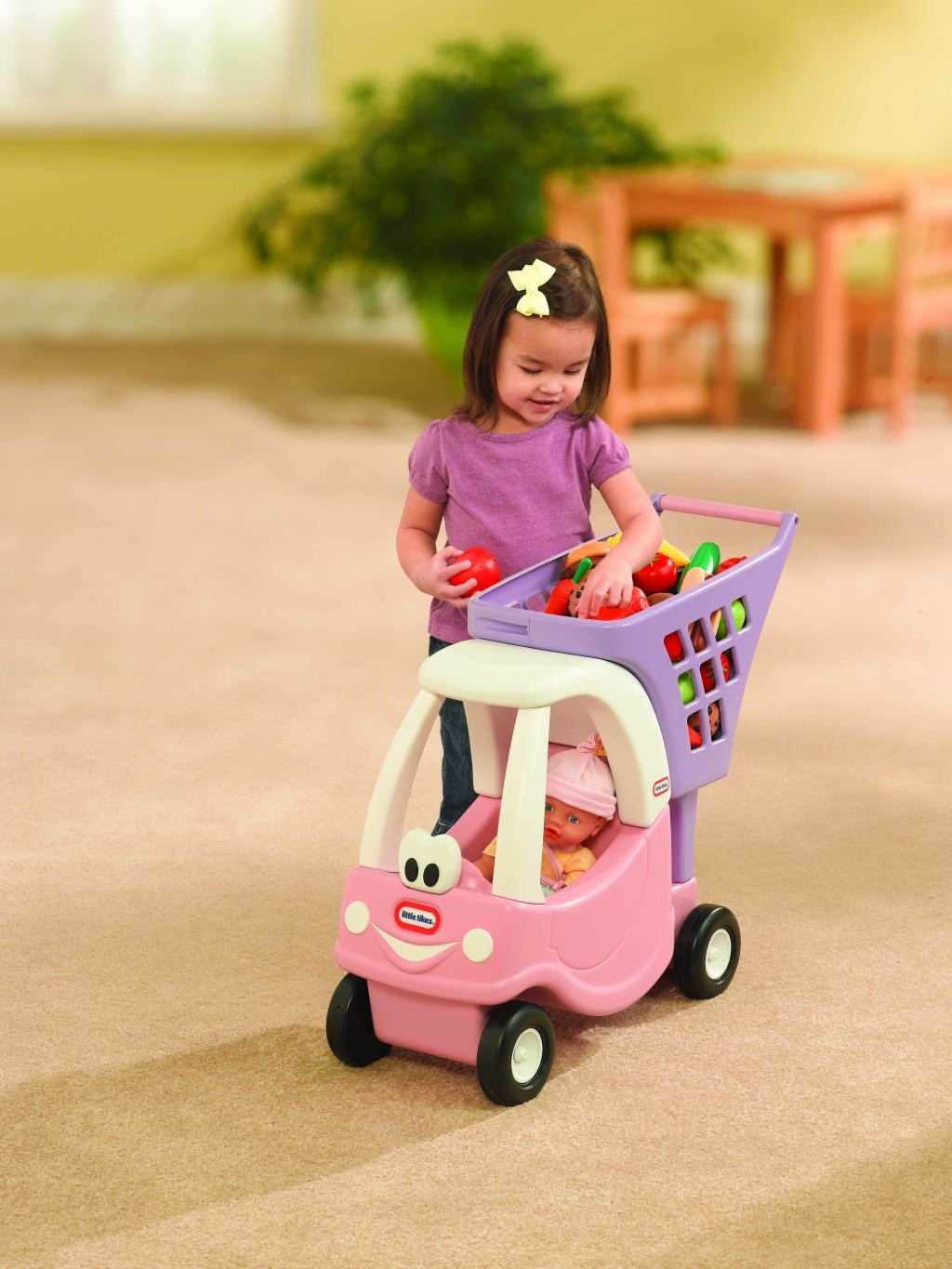 An Image of Little Tikes Cozy Shopping Cart Pink/Purple
