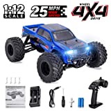 Distianert 1:12 Scale 4WD RTR Rock Crawler Electric RC Car with 2.4GHz Radio Remote Control High Speed 25MPH Best RC Buggy for On-Road and Off-Road Racing Rock Crawling (Color: Blue, Tamaño: WJL00015)