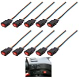 Motorcycle Hazard Light Switch, Sdootauto 10 Pack Emergency Flasher Switch, Double Flash Warning Push Button Switch for Motorcycle and Electrombile With 3 Wires Lock