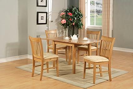 East West Furniture NOFK5-OAK-C 5-Piece Dinette Table Set, Oak Finish