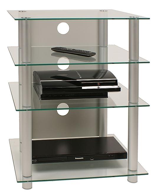 VCM Bilus - Mueble para equipo de alta fidelidad, cristal claro