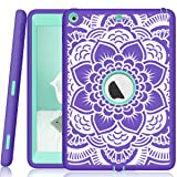 iPad 5th/6th Generation Case, Hocase Heavy Duty Shock Absorbent Rubber+Hard Plastic Dual Layer Protective Case w/ Mandala Floral Print and Kickstand for iPad 9.7 2018/2017 - Purple / Teal (Color: A01 - Purple / Teal)