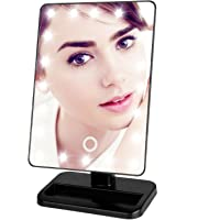 Luckybird Dimmable LED Desktop Touch Screen Mirror with Stand and Battery (Black)