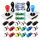 Avisiri 2 Player Arcade Joystick DIY Parts 2X USB Encoder + 2X Elliptical Joystick Hanlde + 18x American Style Arcade Buttons for PC, MAME, Raspberry Pi, Windows (Mix Color Kit) (Color: Mix Color Kit)