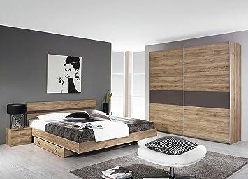 Schlafzimmer, Schlafzimmer-Set, Bett, Bettanlage, Nachtschränke, Schwebeturenschrank, San Remo Eiche hell-Dekor, lavagrau
