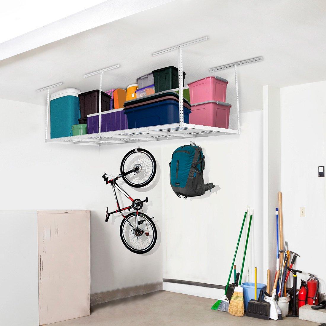 "FLEXIMOUNTS 3x8 Overhead Garage Storage Rack Adjustable Ceiling Storage Rack Heavy Duty, 96"" Length x 36"" Width x 40"" Height, White"