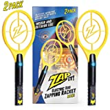 Zap-it! Twin Pack Bug Zappers - Rechargeable Mosquito, Fly Killer and Bug Zapper Racket - 4000 Volt - USB Charging, Super-Bright LED Light to Zap in the Dark