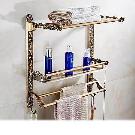 asciugamano antico cremagliera multifunzione/Ripiano doppio strato/portasciugamano/Bagno cosmetici aerei/gancio-H