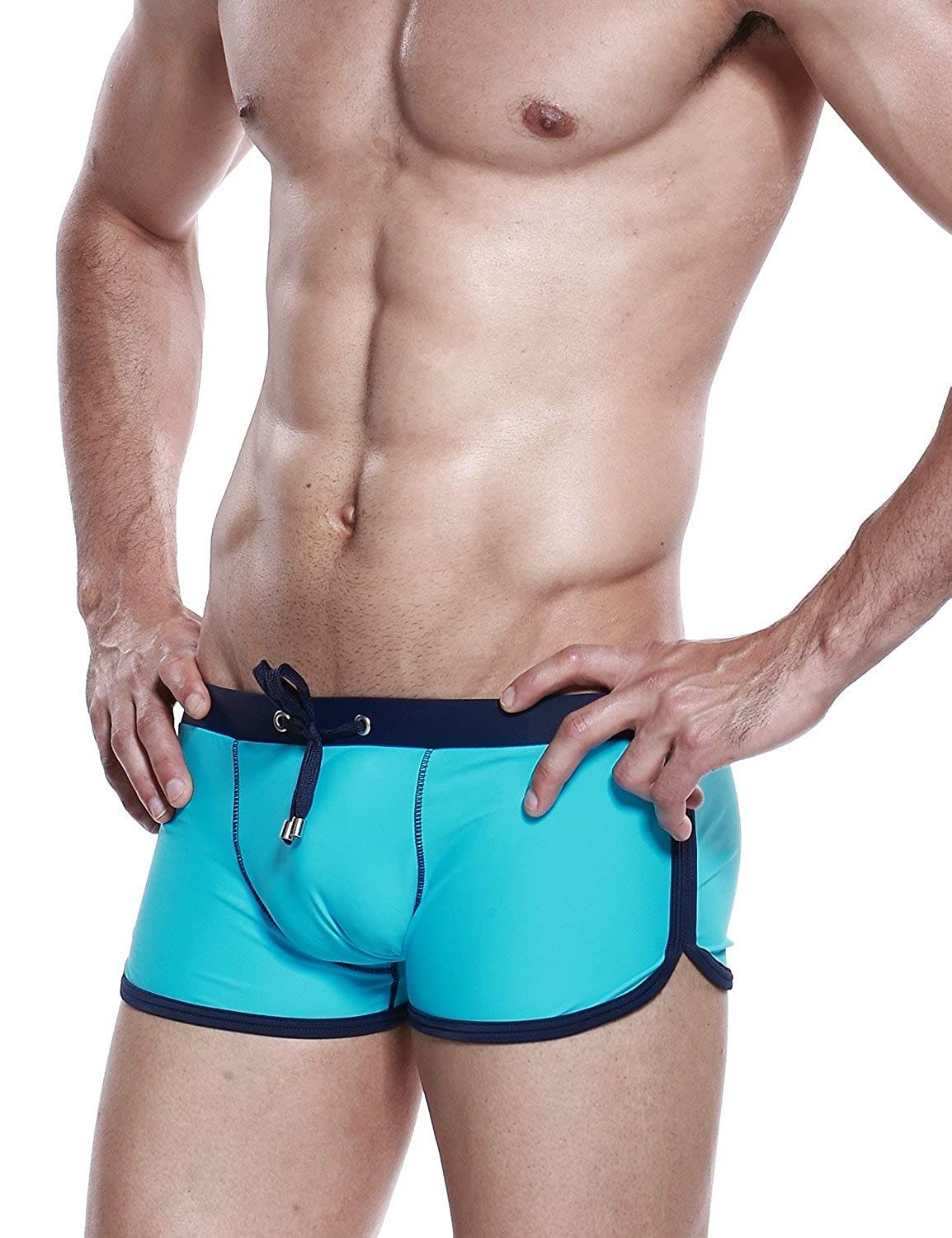 SEOBEAN Mens Low Rise Sexy Swimwear Trunk Boxer Brief Swimsuit 9 Colors