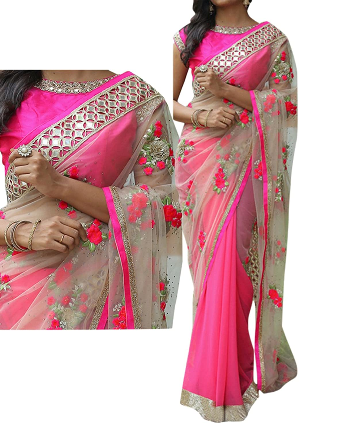 Pink & Grey Color Georgette & Naylone Net Embroidered Party Wear Saree