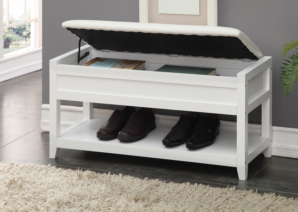 White Bonded Leather Entryway Shoe Bench Shelf Storage