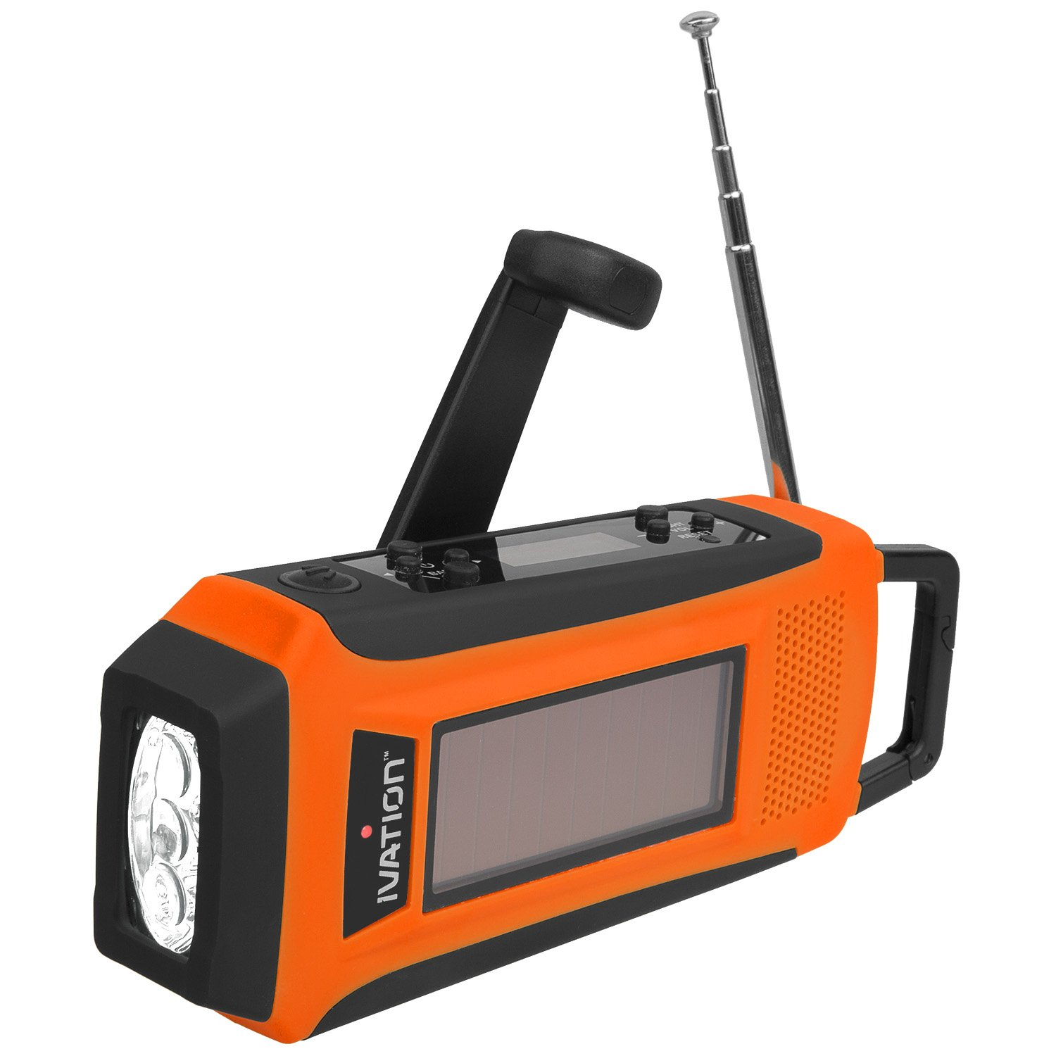 Ivation Rainproof Emergency Digital Solar & Hand Crank AM/FM/NOAA WB Radio, Smart/Cell phone Charger, Bright 3 LED Flashlight - Compact emergency Survival NOAA Alerts, and Cell phone charging – 3 Recharging options, Hand crank Dynamo Power Generator, Built-in Solar Panel, or USB Power Connection (Cables Included), Never need to replace batteries