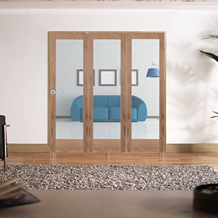 "Green Tree Doors Pre-finished Oak Shaker 1 Light Clear Internal Door Bifold System (533mm (21"") - 4 Doors)"