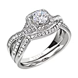 FlameReflection Halo Rings for Women Stainless Steel Infinity Wedding Set Round Cubic Zirconia Size 7 SPJ