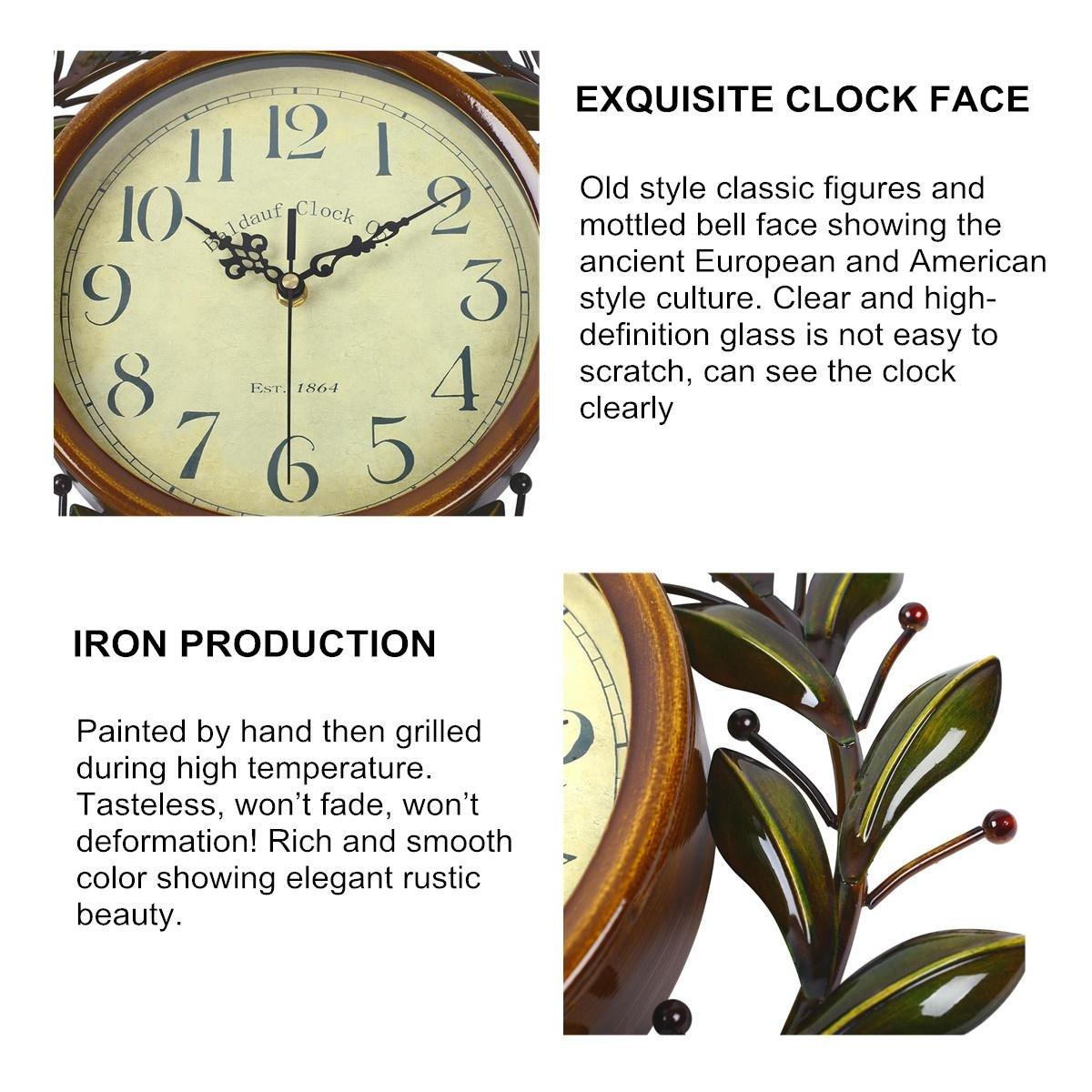 Soledi Vintage Wall Clock Classic Silent Non-ticking For Home Decoration Olive Branch Design 6