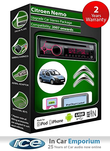 Citroen Nemo Autoradio CD MP3 radio play Clarion, iPod, iPhone, Android