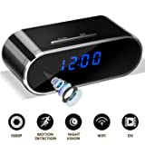 WiFi Hidden Spy Camera Clock - Full HD 1080P Wireless Nanny Cam with Motion Detection, Night Vision, Loop Recording, Real time Video, No Audio for Home and Office Security Surveillance (Color: Black, Tamaño: Black)