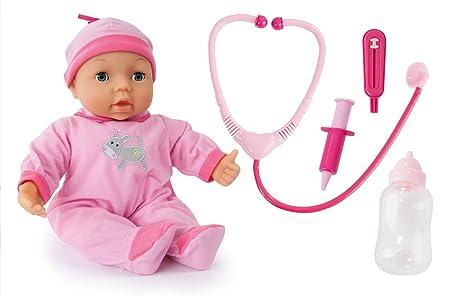 Bayer Design - 93877 - Poupon Avec 25 Fonction - Ensemble Docteur Avec Accessoires - Rose - 38 Cm