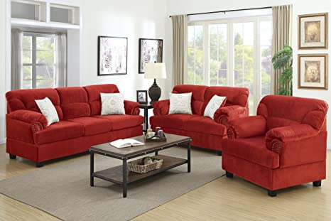 3-Pcs Sofa Set Upholstered in Red Microfiber by Poundex