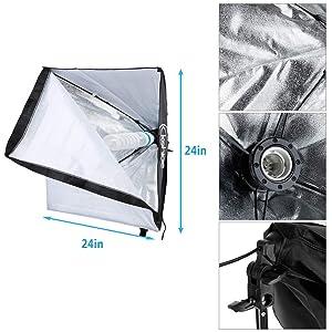 Kshioe 65W Photo Studio Photography Soft Box Lights Continuous Lighting Kit Diffuser 3X 65w Bulbs, 24''x 24'' Softbox, 86'' Light Stand, Carring Bag