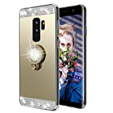 Galaxy S9 Case,Lozeguyc Crystal Rhinestone Mirror Glass Case Bling Diamond Soft Rubber Makeup Case for Samsung Galaxy S9 with Detachable 360 Degree Ring Stand--Gold