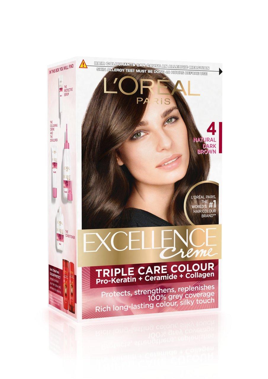 Buy L'Oreal Paris Excellence Creme, Natural Dark Brown 04, 72ml+ ...