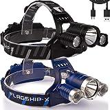 Flagship-X Nighthawk USB Rechargeable Waterproof LED Camping Headlamp Flashlight for Running (2-pk Black & Blue) (Color: 2-pk Black & Blue)