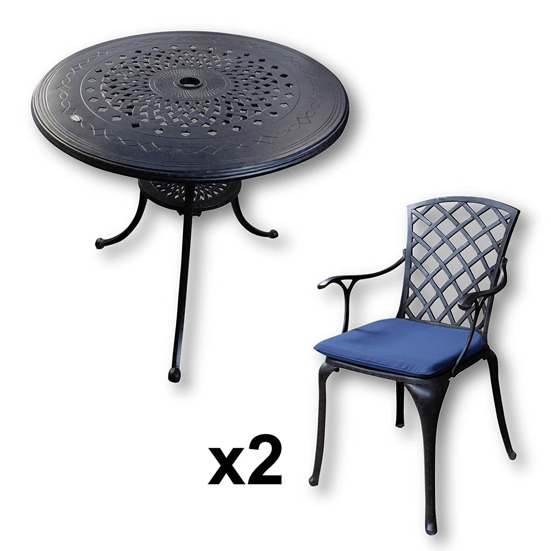 Sitzgruppe Vigo Runder Tisch Mit 2 Stühlen Metall