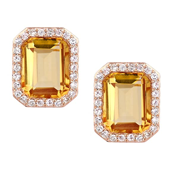 Naava 9ct Rose Gold Diamond and Citrine Earrings  DE1677RCT