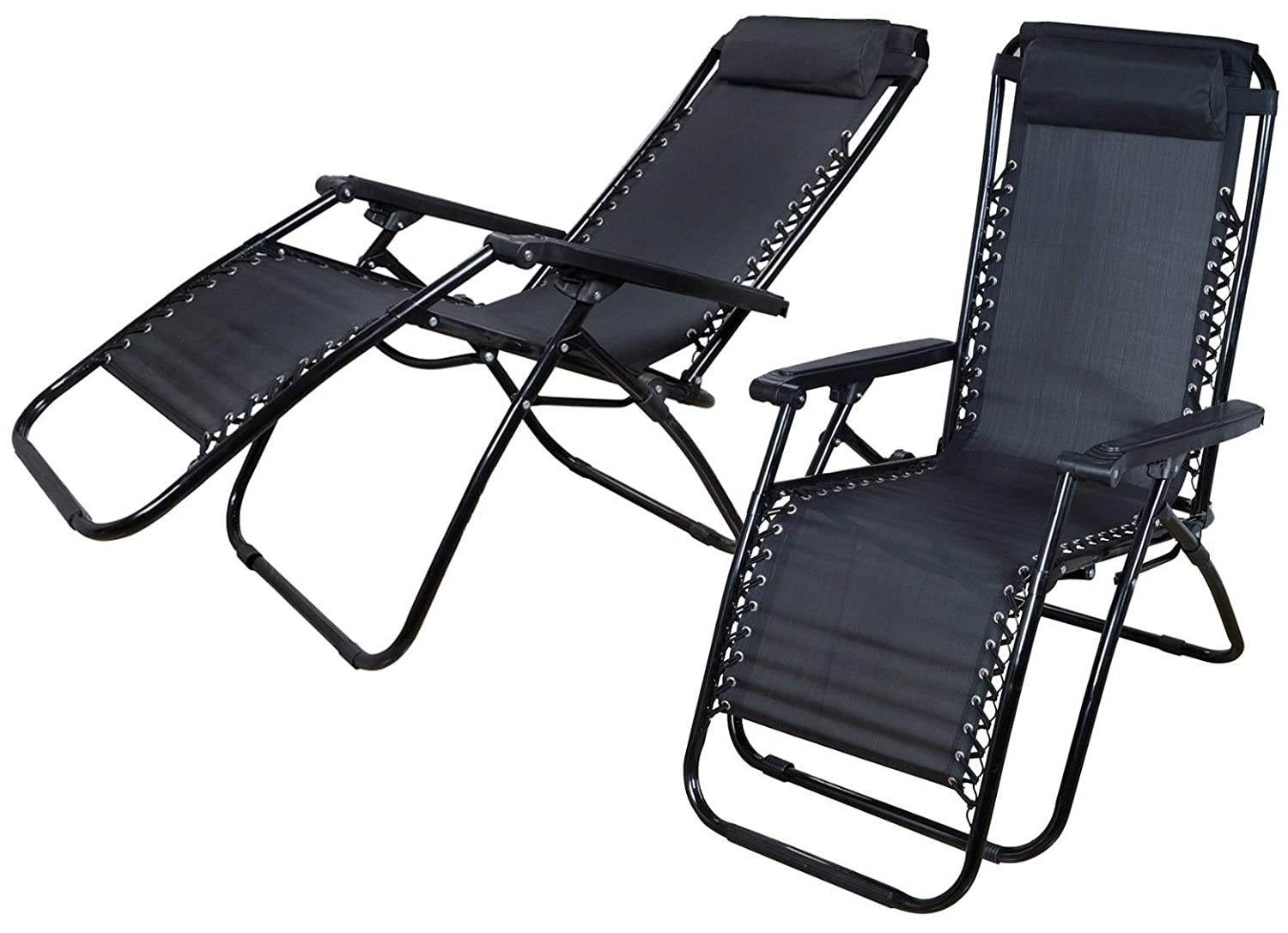 Globe House Products GHP Set of 2 Black Ergonomic Zero Gravity Patio Lounger Chair