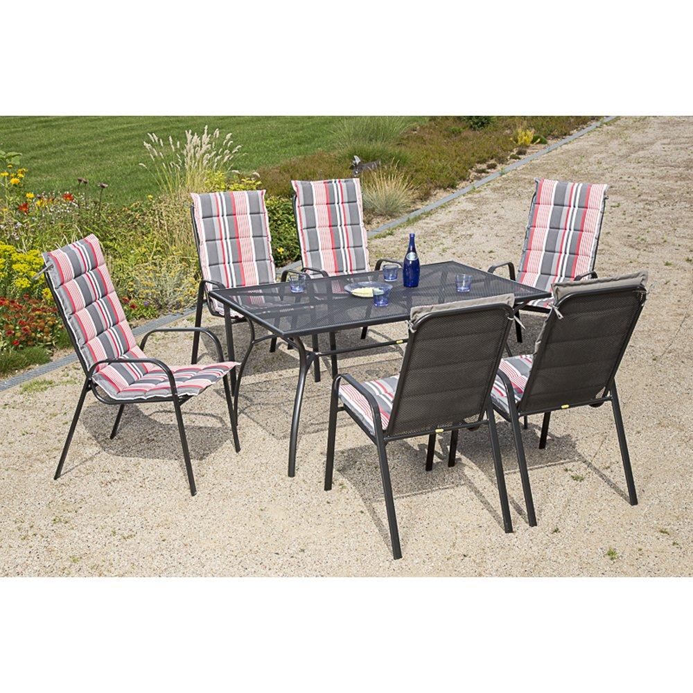 MERXX Gartenmöbel-Set Tarent 13-tlg. Stapelsessel mit Sitzkissen, Tisch 150x90cm