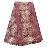 pqdaysun African Lace Fabric Swiss 5 Yards 2019 Nigerian Lace French Beaded Tulle Fabric Wax Fabric for Wedding Party (Color: peach, Tamaño: 5 yards)