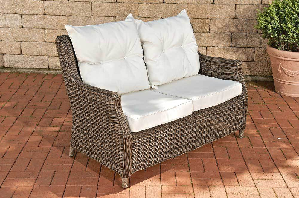 CLP Polyrattan 2er Sofa MONTERO mit Aluminium Gestell, bequemer 2-Sitzer inkl. 10 cm dicke Sitz- und Rückenkissen, hohe Rückenlehne grau-meliert, Bezugfarbe creme