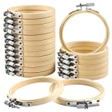 Caydo 20 Pieces 3 Inch Bamboo Embroidery Hoops Round Wooden Circle Cross Stitch Hoop Round Ring for Art Craft Handy Sewing
