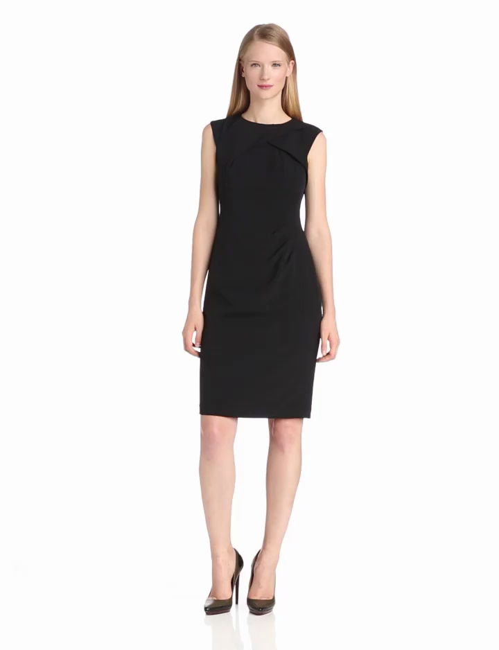 Adrianna Papell Women's Crepe Tuck Detail Sheath Dress