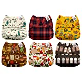 Mama Koala One Size Baby Washable Reusable Pocket Cloth Diapers, 6 Pack with 6 One Size Microfiber Inserts (Little Cowpokes) (Color: Little Cowpokes, Tamaño: One Size)