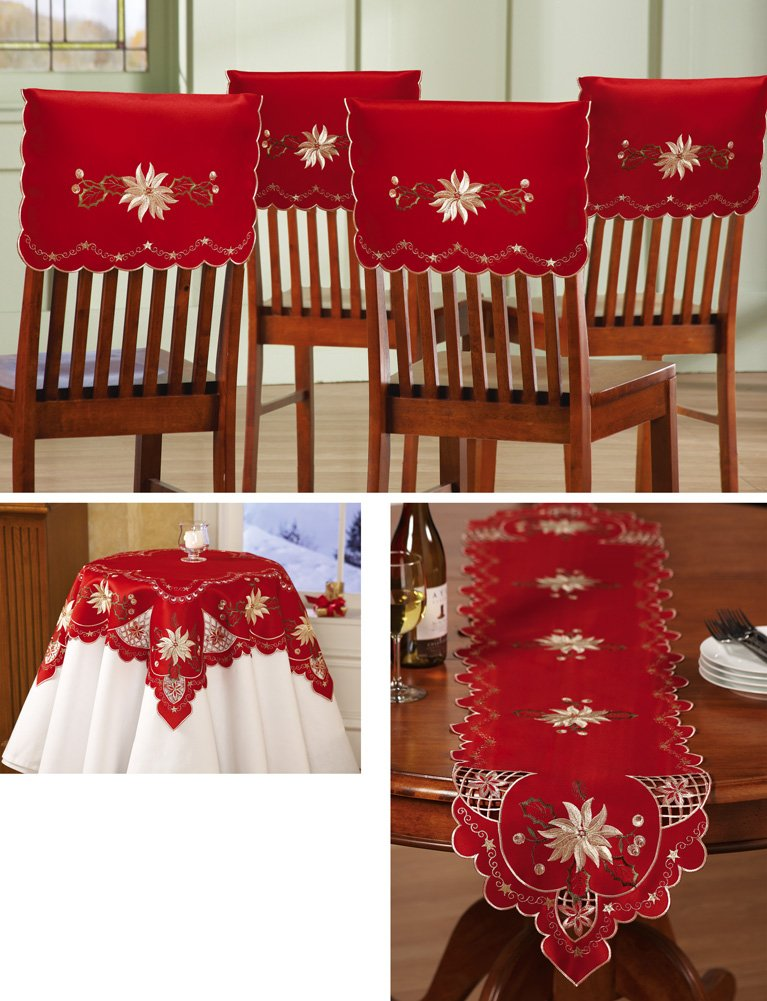 Christmas Elegance Embroidered Holiday Table Linens Square