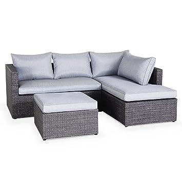alice 39 s garden salon de de jardin en r sine tress e 5 5 places gris canap d 39 angle. Black Bedroom Furniture Sets. Home Design Ideas