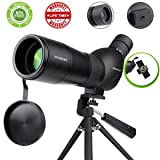 Spotting Scope,Huicocy 20-60x60mm Zoom 39-19m/1000m Fully Multi Coated Optical Lens Fogproof and Movably Eyepiece Rubber Design Telescope with Quick Smartphone Mount Kit and Tabletop Tripod for Target (Color: Black)