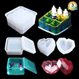 Box Resin Molds LET'S Resin Jewelry Box Molds with 9-Slot Epoxy Molds, Diamond Heart Molds, Square Silicone Molds for Making Resin Box (Color: Box Resin Molds)