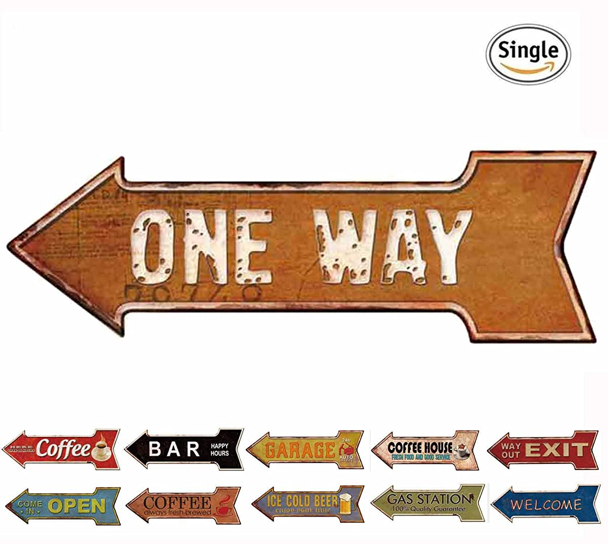HANTAJANSS Metal Signs Arrow Retro Door Signs with One Way for Home Decoration