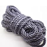 U Pick 10yds 5mm Decorative Twisted Satin Polyester Twine Cord Rope String Thread Shiny Cord Choker Thread (10:Gray) (Color: 10:gray, Tamaño: 5mm)