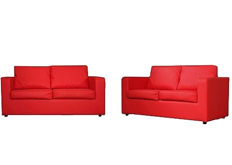 Rojo 3 plazas y sofá 2
