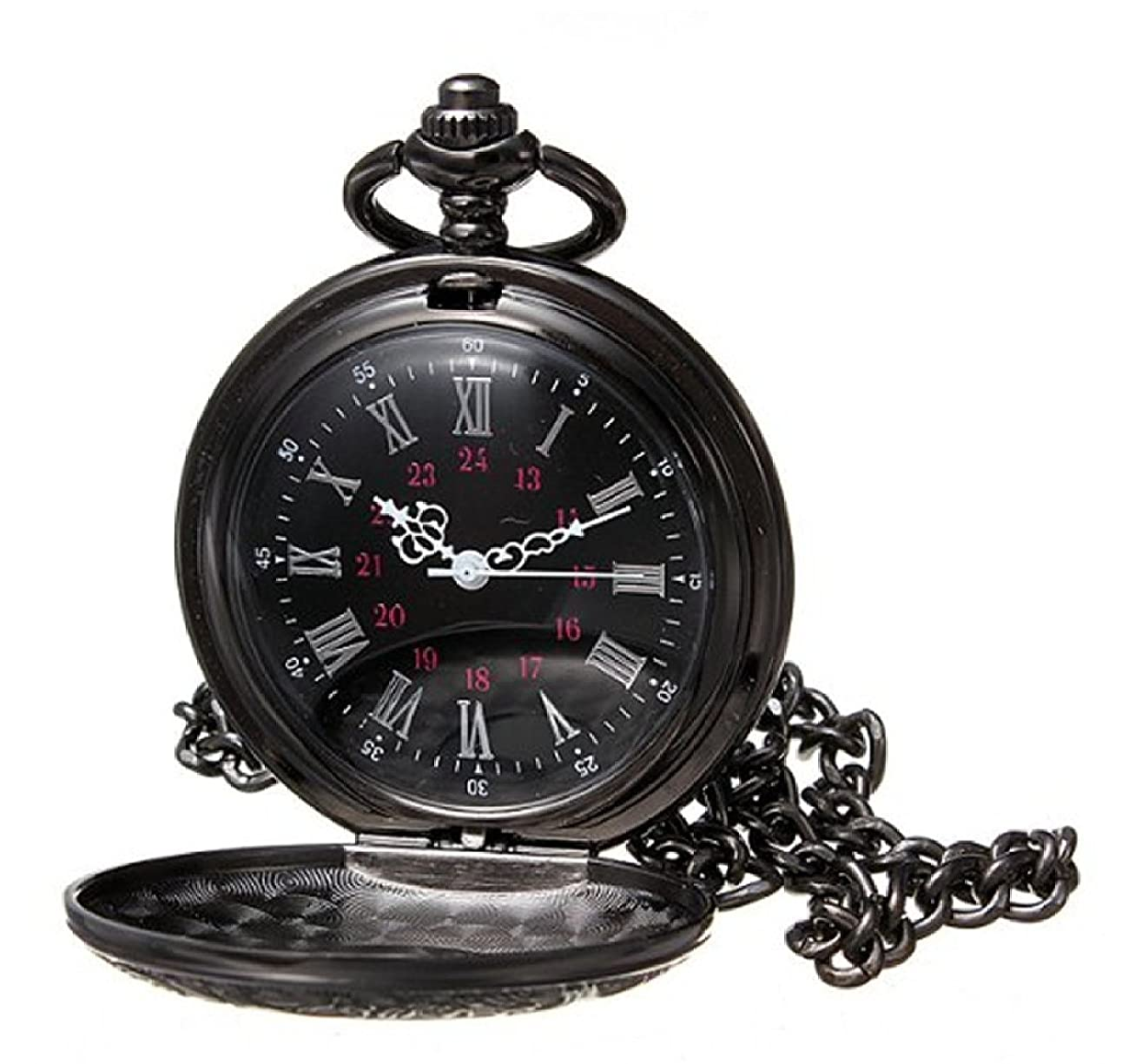 HJIAN Pocket Watch Black Roman Retro Vintage Quartz Pocket Watch Roman Numerals Steampunk Fob Watch 0